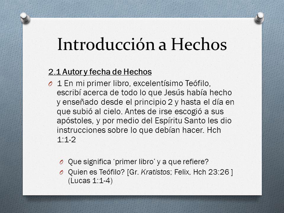 Introducción a Hechos 2.1 Autor y fecha de Hechos