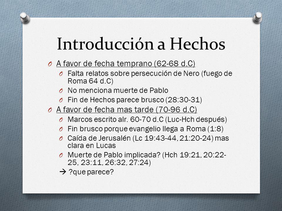 Introducción a Hechos A favor de fecha temprano (62-68 d.C)