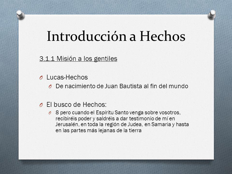 Introducción a Hechos 3.1.1 Misión a los gentiles Lucas-Hechos