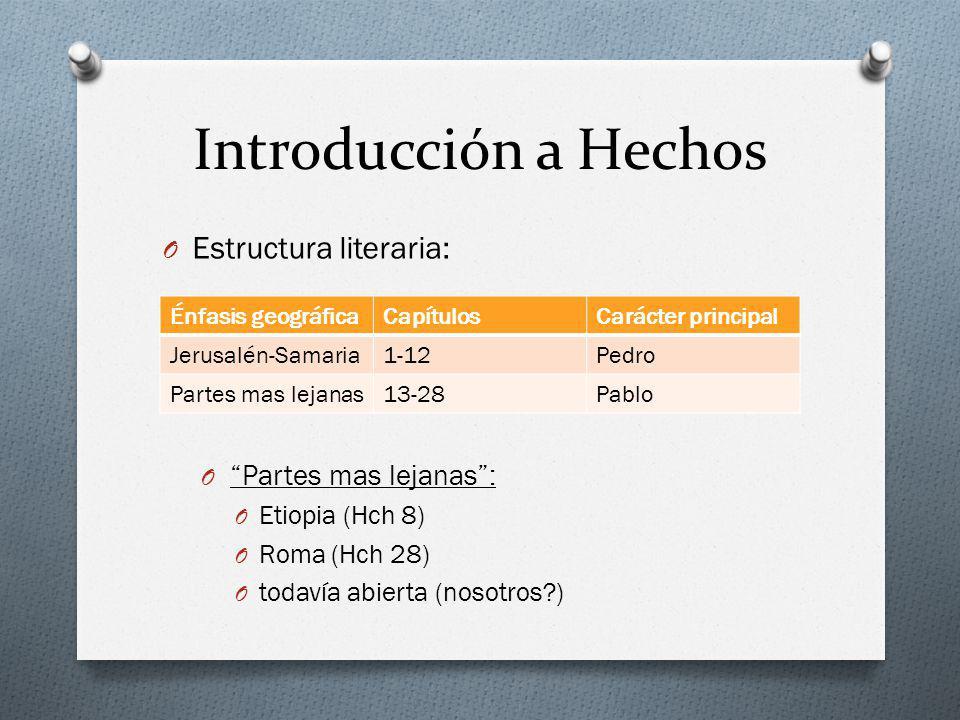 Introducción a Hechos Estructura literaria: Partes mas lejanas :