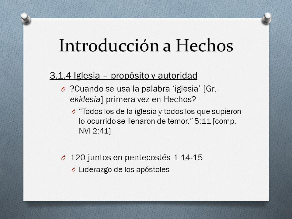 Introducción a Hechos 3.1.4 Iglesia – propósito y autoridad