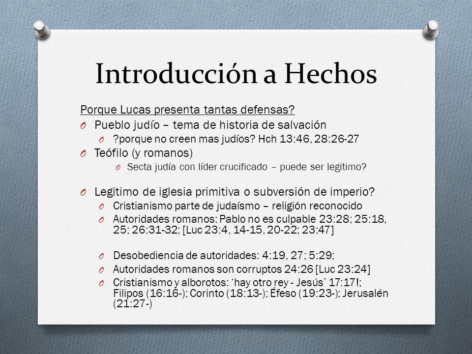 Introducción a Hechos Porque Lucas presenta tantas defensas
