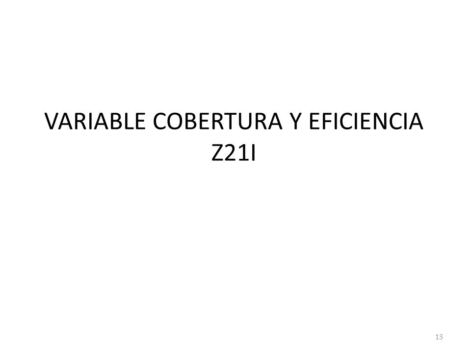 VARIABLE COBERTURA Y EFICIENCIA Z21I