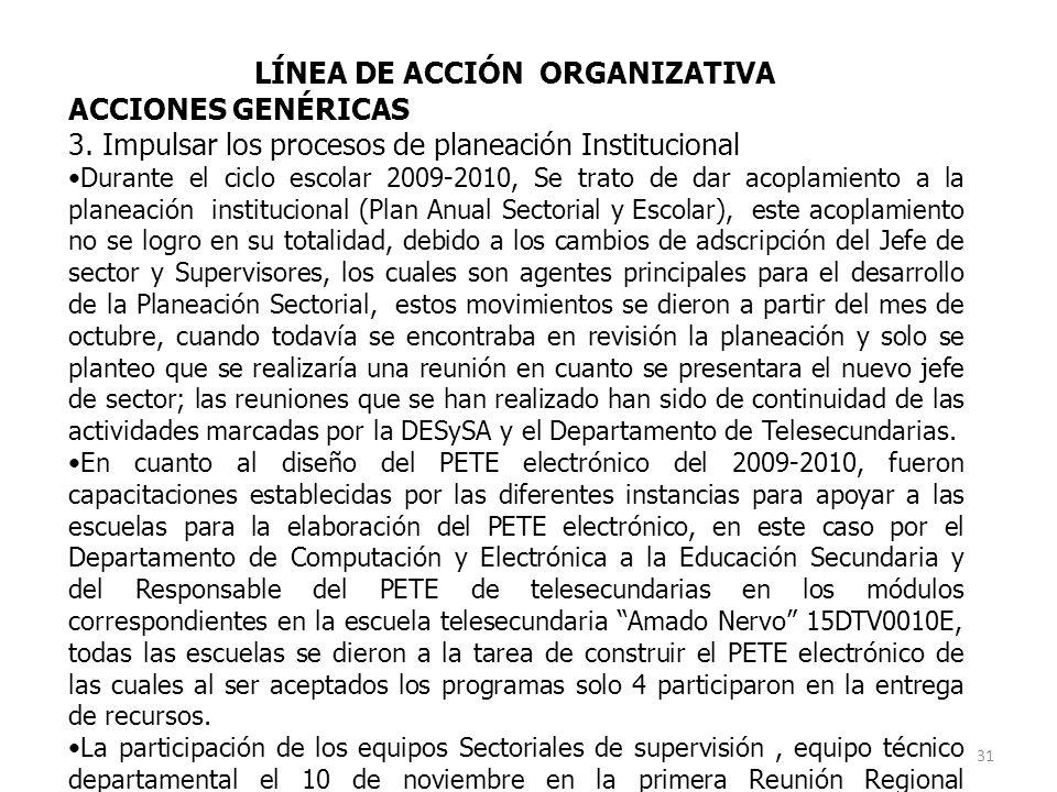LÍNEA DE ACCIÓN ORGANIZATIVA
