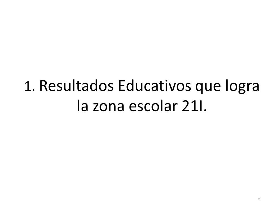 1. Resultados Educativos que logra la zona escolar 21I.