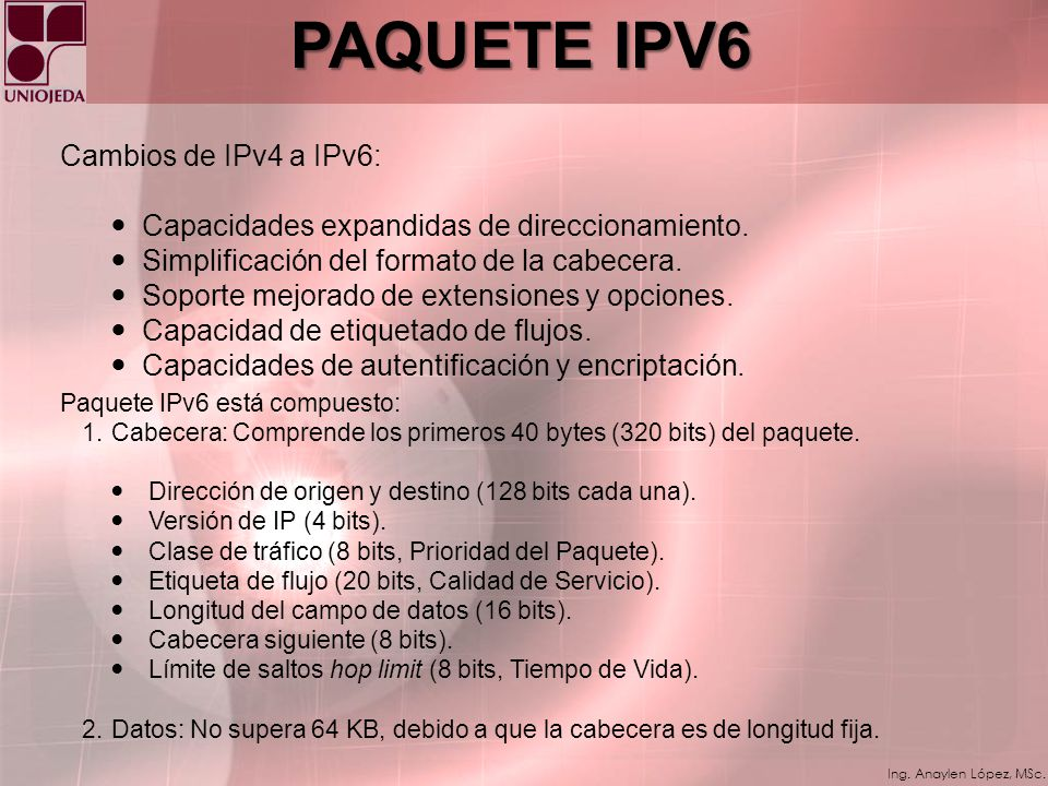 PAQUETE IPV6 Cambios de IPv4 a IPv6:
