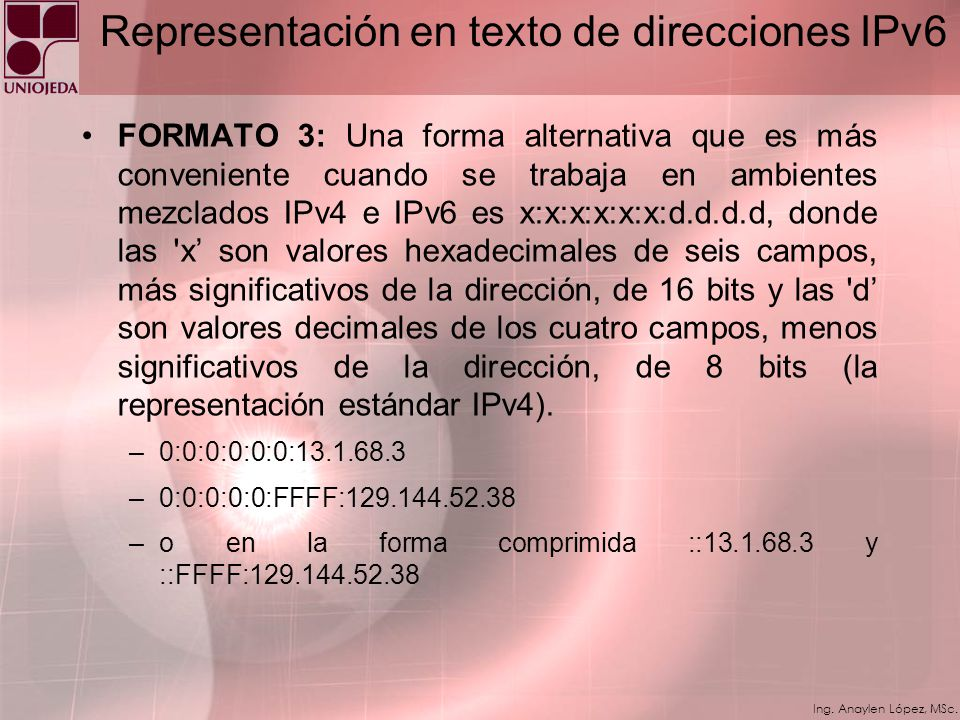 Representación en texto de direcciones IPv6