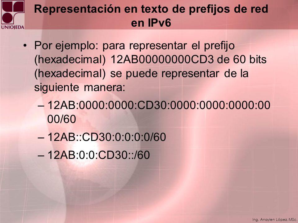 Representación en texto de prefijos de red en IPv6