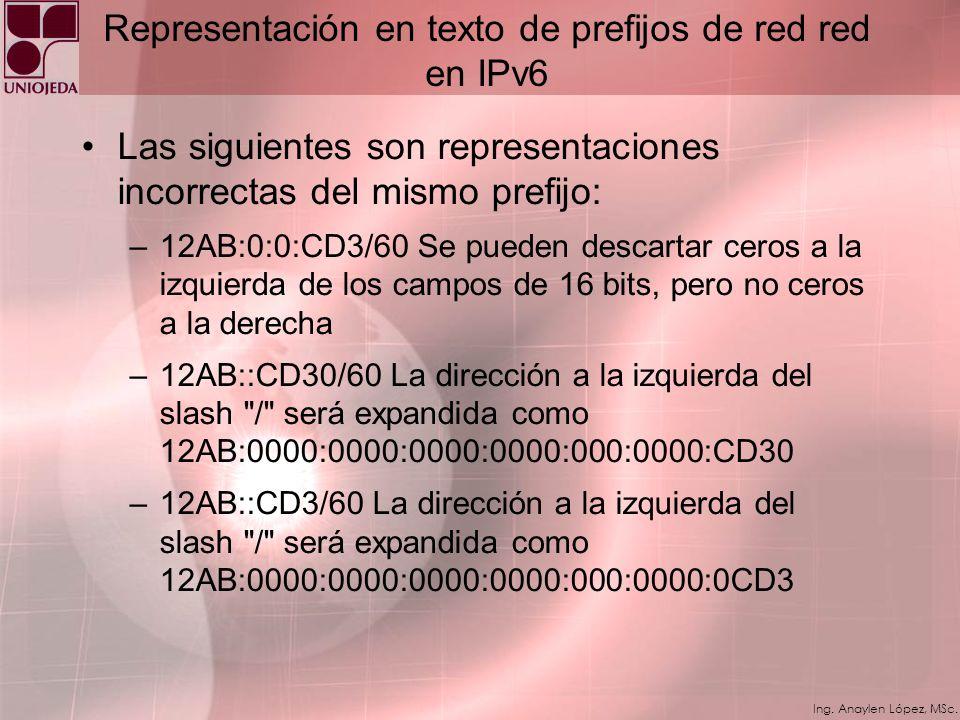 Representación en texto de prefijos de red red en IPv6