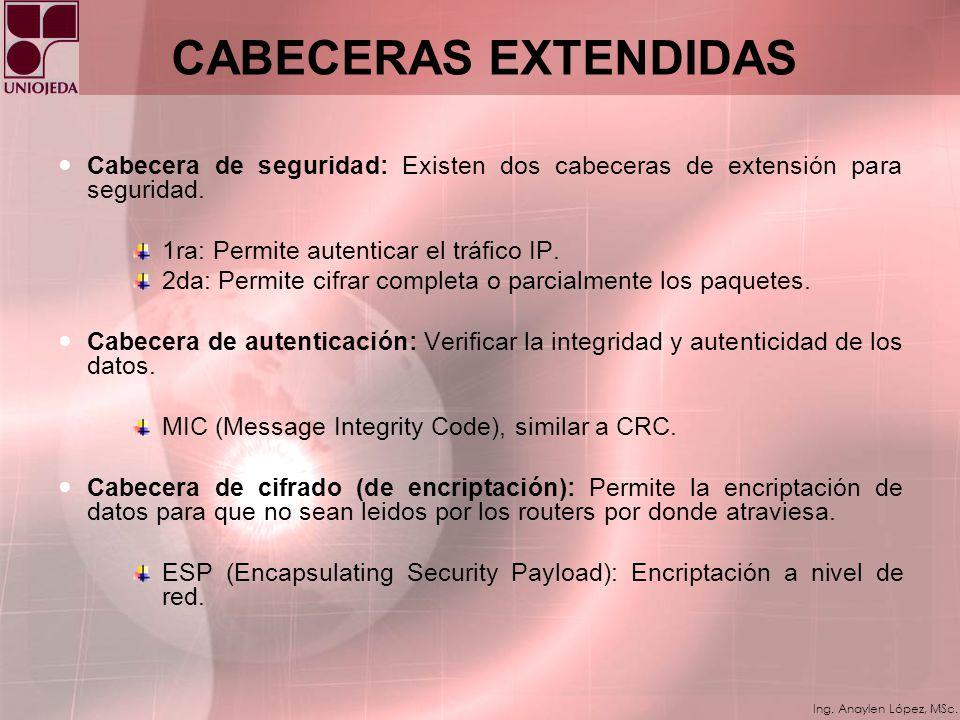 CABECERAS EXTENDIDAS Cabecera de seguridad: Existen dos cabeceras de extensión para seguridad. 1ra: Permite autenticar el tráfico IP.