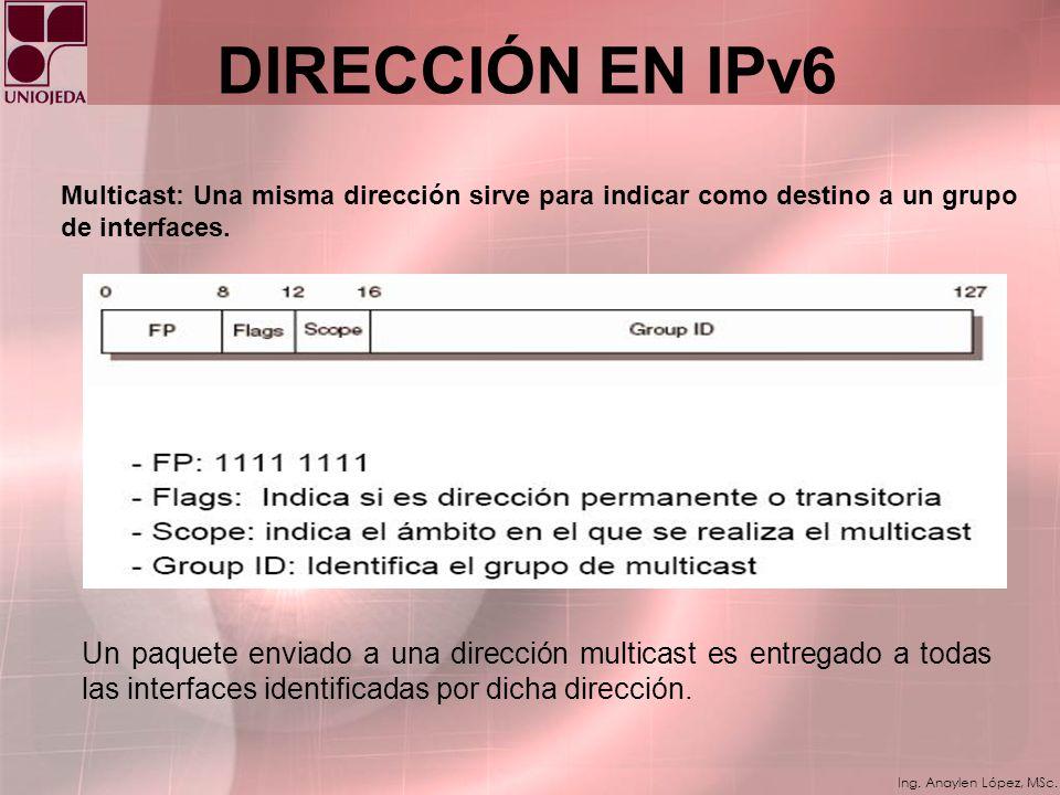 DIRECCIÓN EN IPv6 Multicast: Una misma dirección sirve para indicar como destino a un grupo de interfaces.
