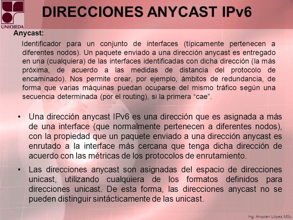 DIRECCIONES ANYCAST IPv6