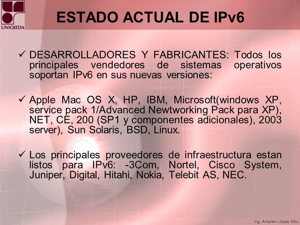 ESTADO ACTUAL DE IPv6 DESARROLLADORES Y FABRICANTES: Todos los principales vendedores de sistemas operativos soportan IPv6 en sus nuevas versiones: