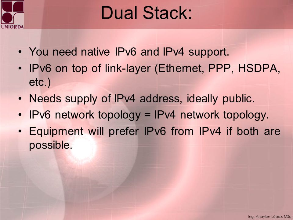 Dual Stack: You need native IPv6 and IPv4 support.