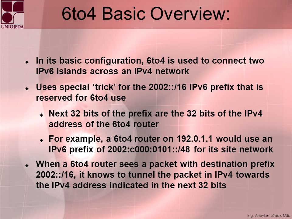 6to4 Basic Overview: In its basic configuration, 6to4 is used to connect two IPv6 islands across an IPv4 network.