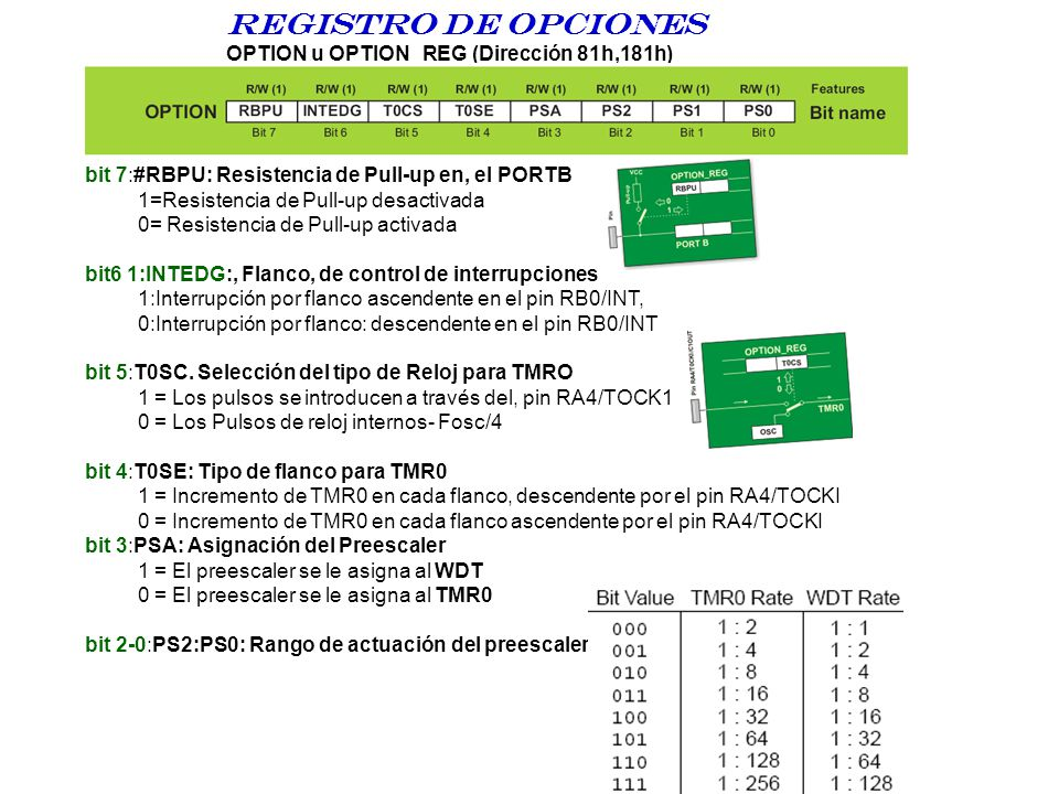 Registro DE opciones OPTION u OPTION_REG (Dirección 81h,181h)