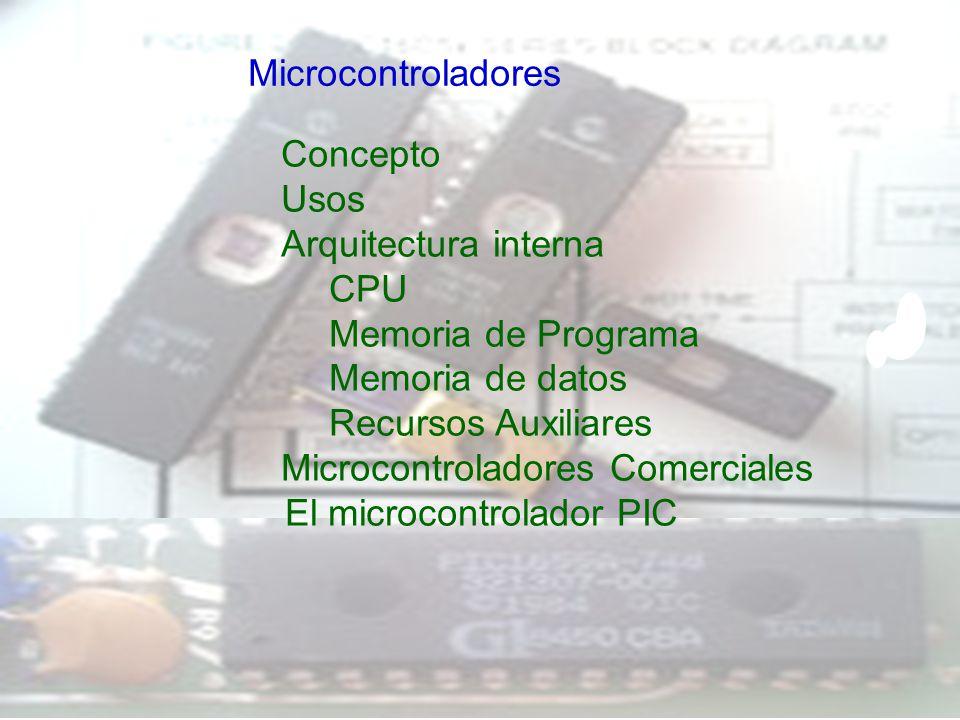 Microcontroladores Concepto. Usos. Arquitectura interna. CPU. Memoria de Programa. Memoria de datos.