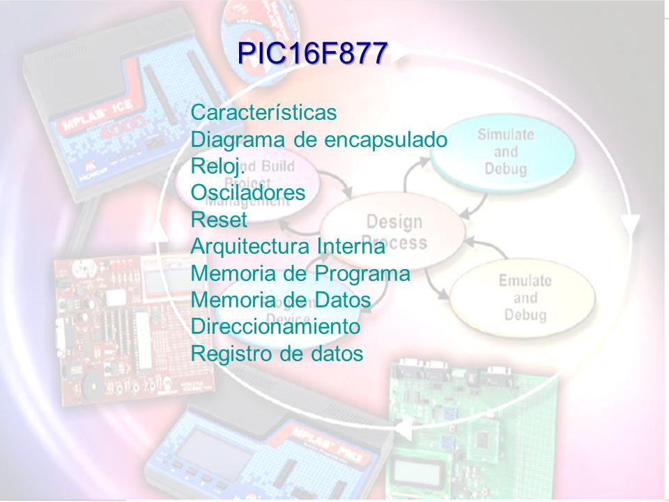 PIC16F877 Características Diagrama de encapsulado Reloj. Osciladores