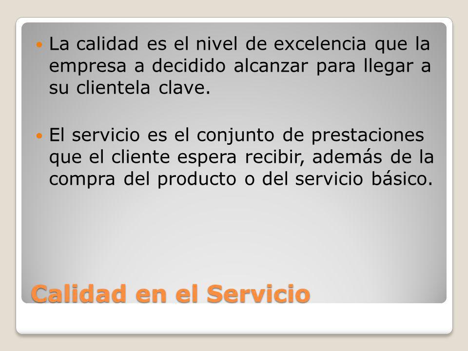 La calidad es el nivel de excelencia que la empresa a decidido alcanzar para llegar a su clientela clave.