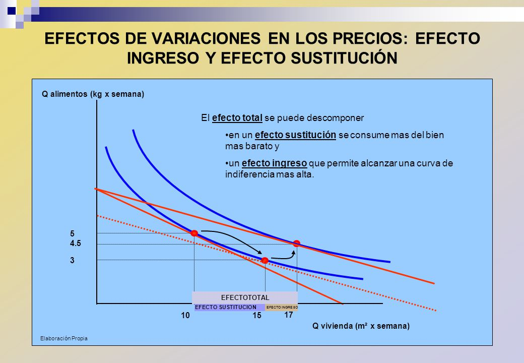 EFECTOS DE VARIACIONES EN LOS PRECIOS: EFECTO INGRESO Y EFECTO SUSTITUCIÓN