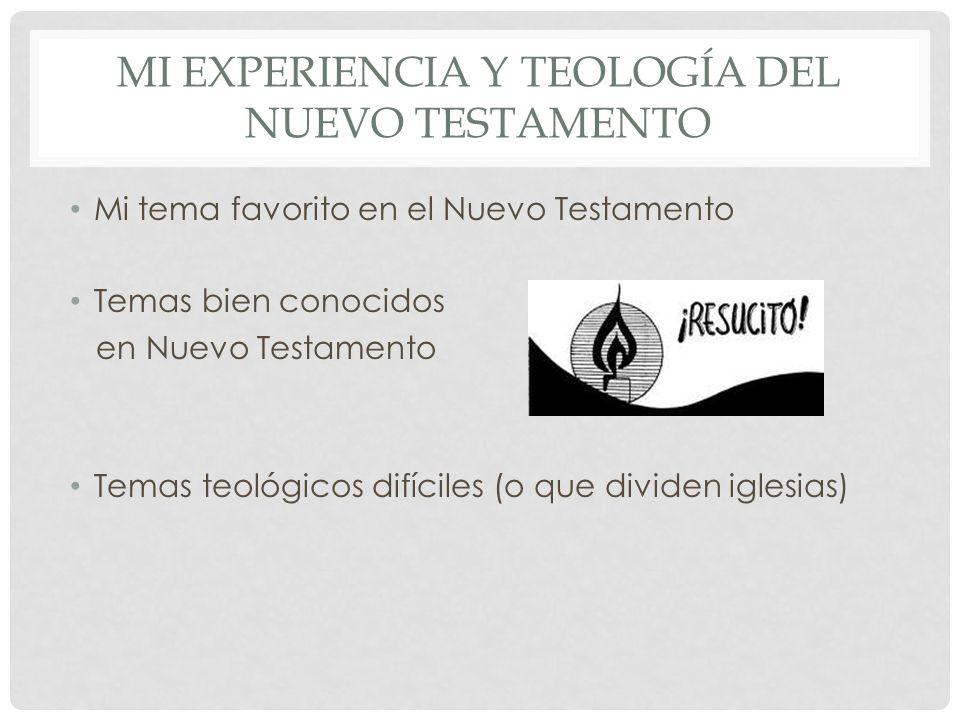 Mi experiencia y teología del nuevo testamento