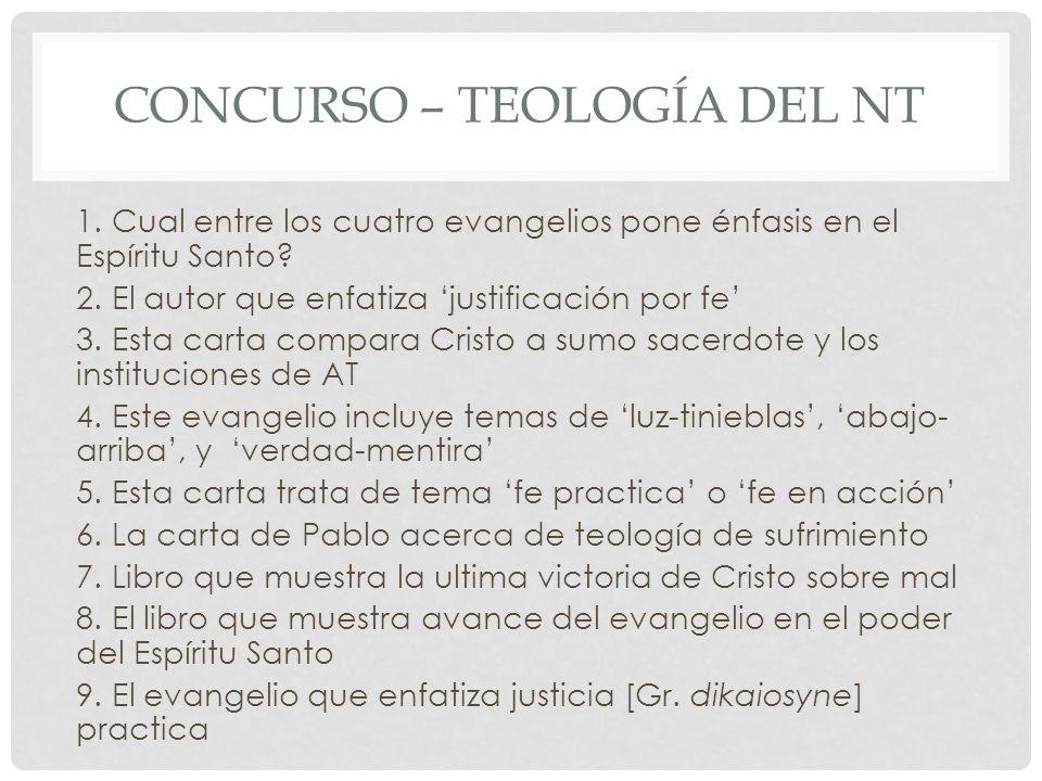 Concurso – teología del nt