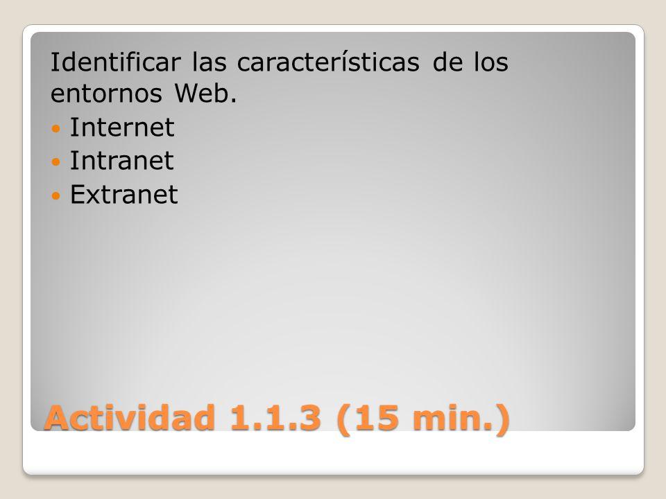 Identificar las características de los entornos Web.