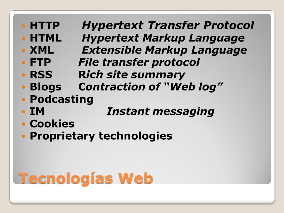 Tecnologías Web HTTP Hypertext Transfer Protocol