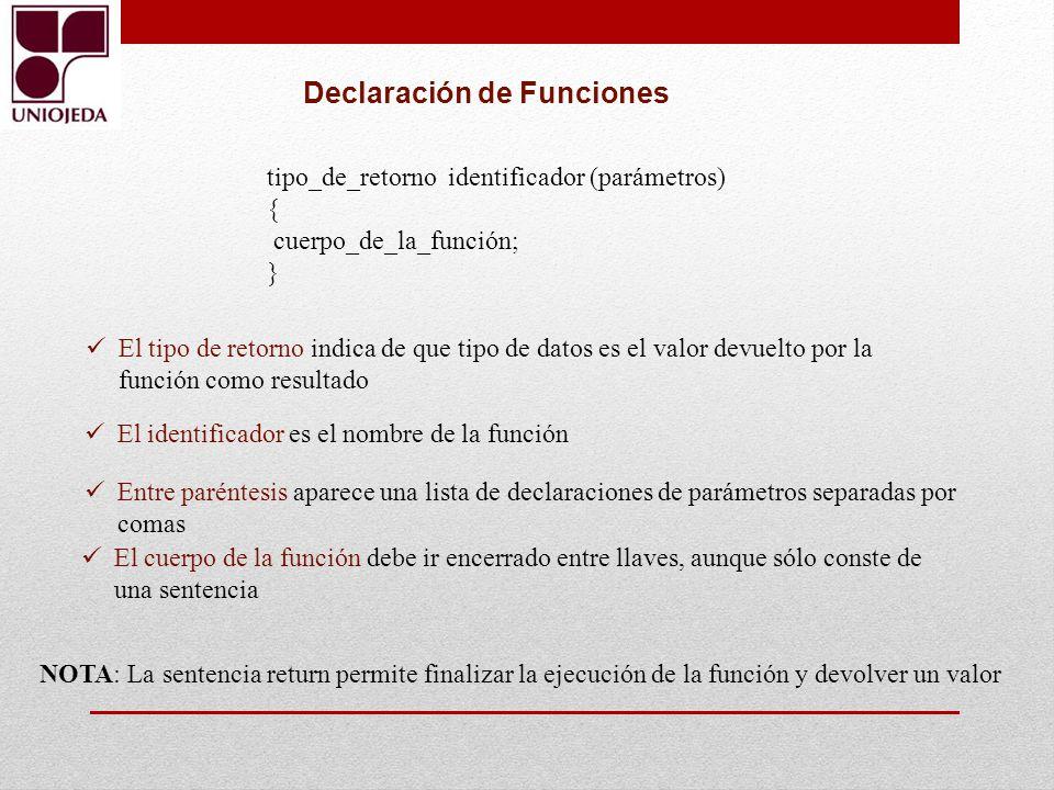 Declaración de Funciones
