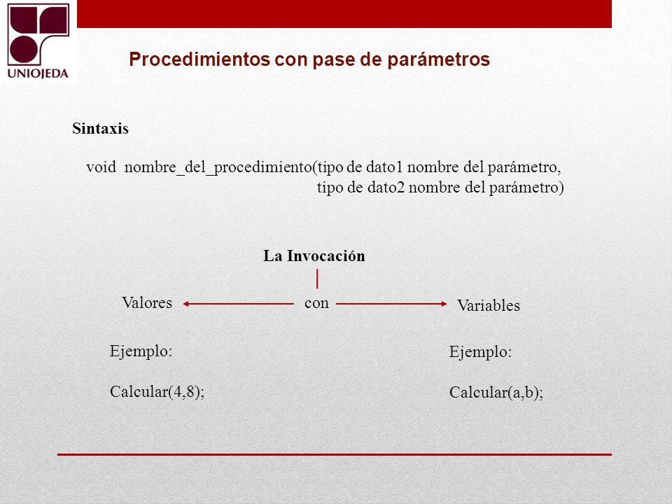 Procedimientos con pase de parámetros