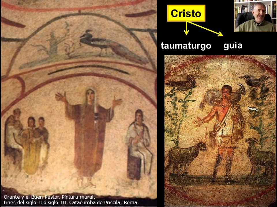 Cristo taumaturgo guía Orante y el Buen Pastor. Pintura mural.