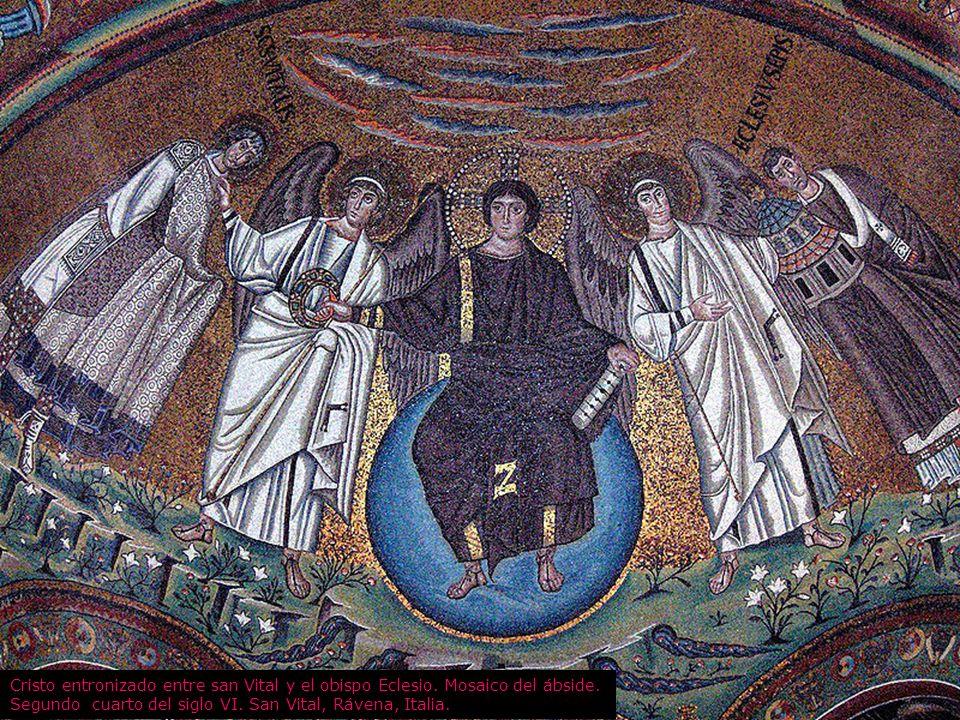 Cristo entronizado entre san Vital y el obispo Eclesio