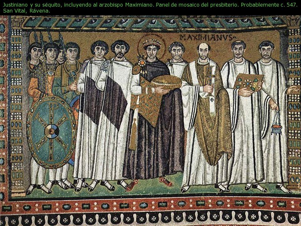 Justiniano y su séquito, incluyendo al arzobispo Maximiano