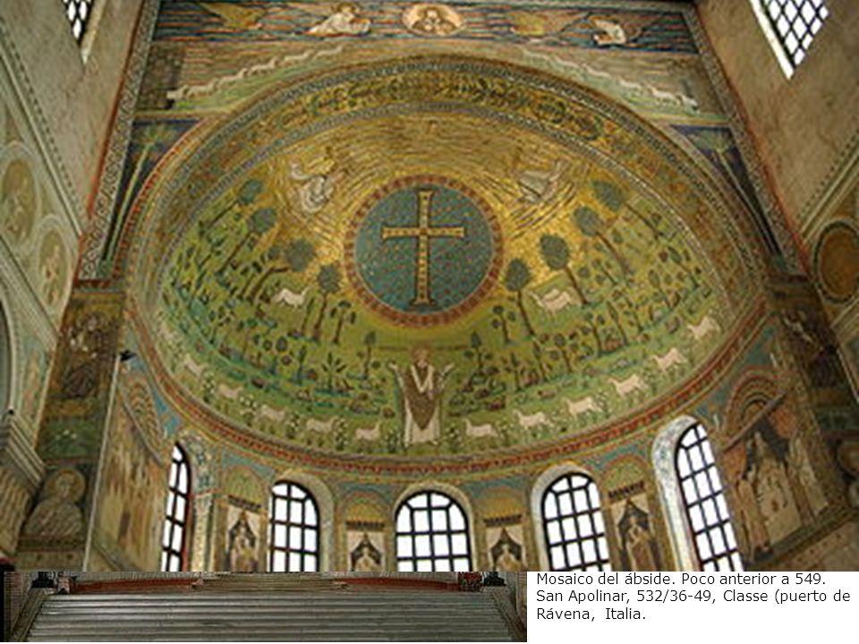 San Apolinar en oración entre símbolos de los apóstoles y la Transfiguración.