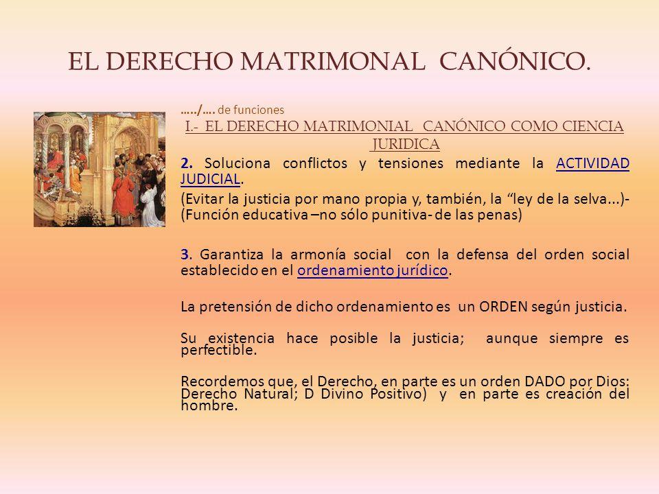 EL DERECHO MATRIMONAL CANÓNICO.