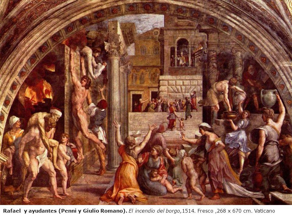 Rafael y ayudantes (Penni y Giulio Romano). El incendio del borgo,1514