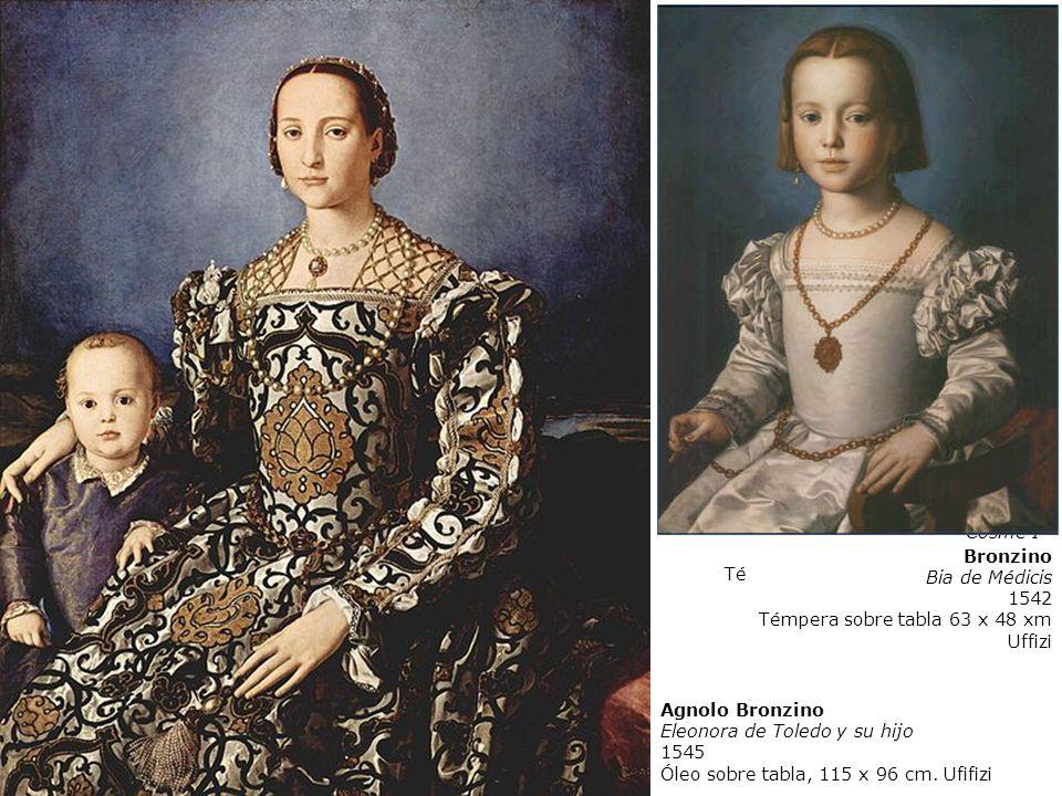 A. Bronzino Cosme I. 1545. Témpera sobre madera 74 x 58 cm. Uffizi, Florencia. Bronzino. Bia de Médicis.