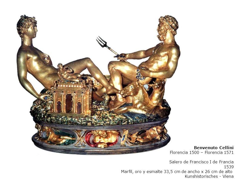 Benvenuto Cellini Florencia 1500 – Florencia 1571. Salero de Francisco I de Francia. 1539. Marfil, oro y esmalte 33,5 cm de ancho x 26 cm de alto.