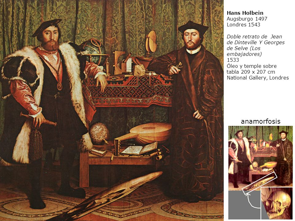 anamorfosis Hans Holbein Augsburgo 1497 Londres 1543