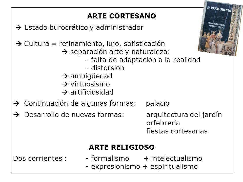 ARTE CORTESANO  Estado burocrático y administrador.  Cultura = refinamiento, lujo, sofisticación.