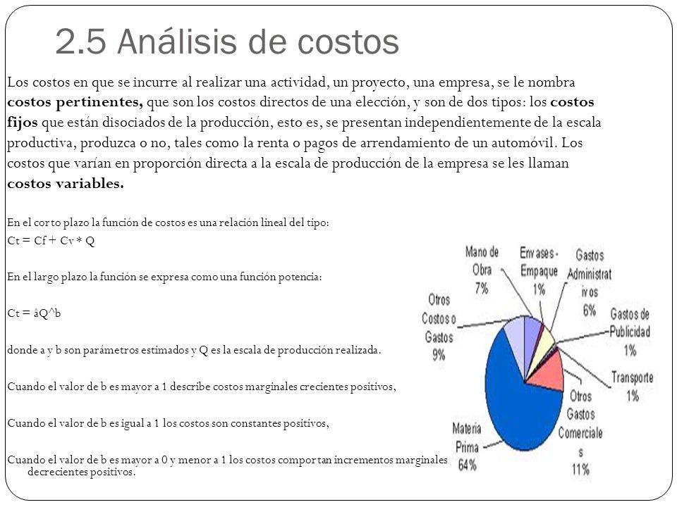 2.5 Análisis de costos