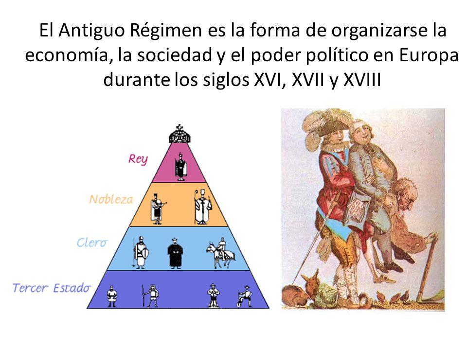 El Antiguo Régimen es la forma de organizarse la economía, la sociedad y el poder político en Europa durante los siglos XVI, XVII y XVIII