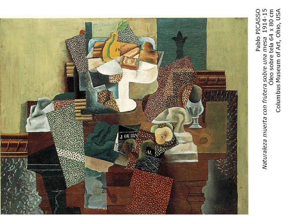 Pablo PICASSONaturaleza muerta con frutera sobre una mesa 1914-15.