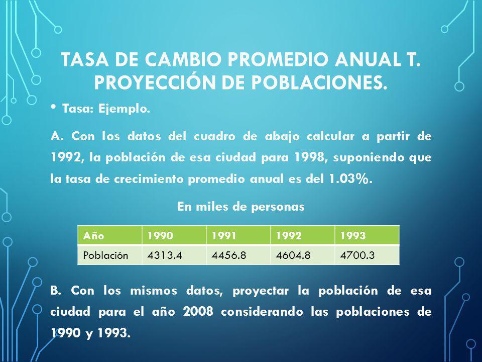 Tasa de cambio promedio anual t. proyección de poblaciones.