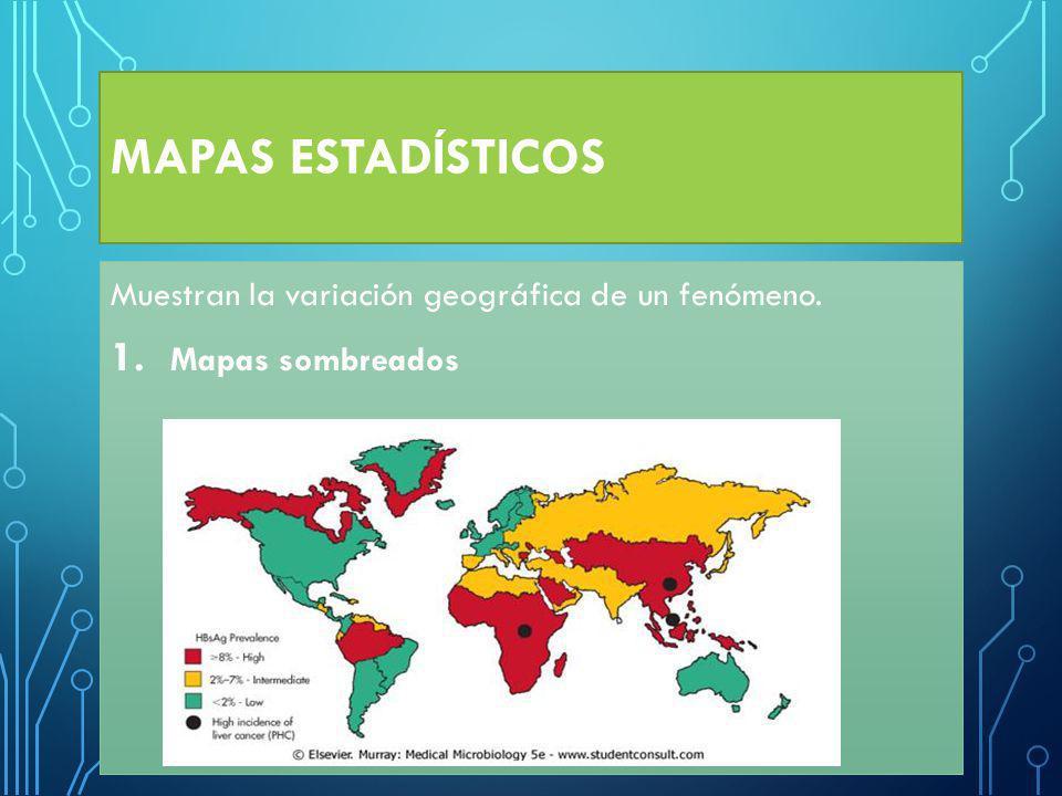 MAPAS ESTADÍSTICOS Muestran la variación geográfica de un fenómeno.