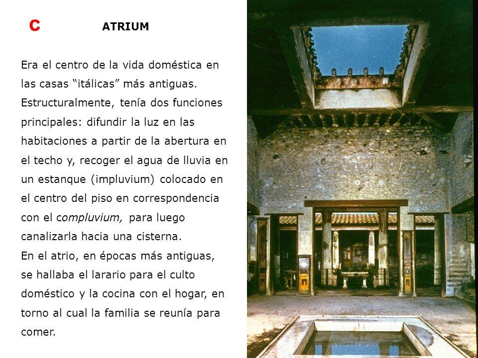 c ATRIUM. Era el centro de la vida doméstica en las casas itálicas más antiguas.