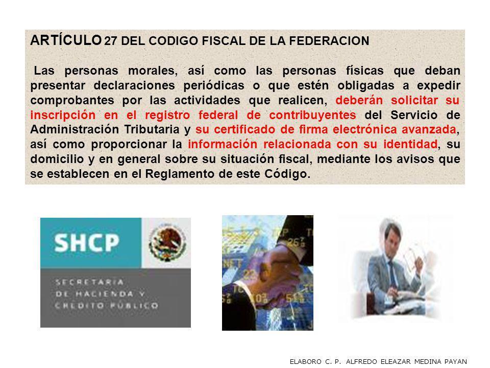 ARTÍCULO 27 DEL CODIGO FISCAL DE LA FEDERACION