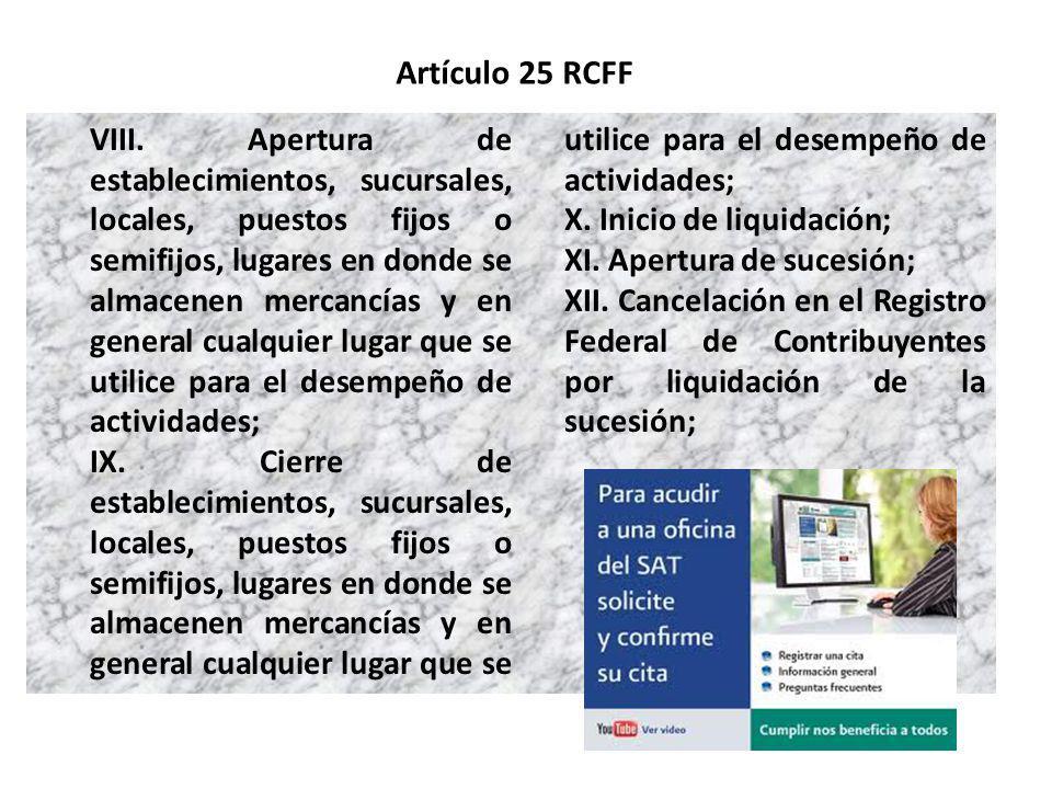 Artículo 25 RCFF