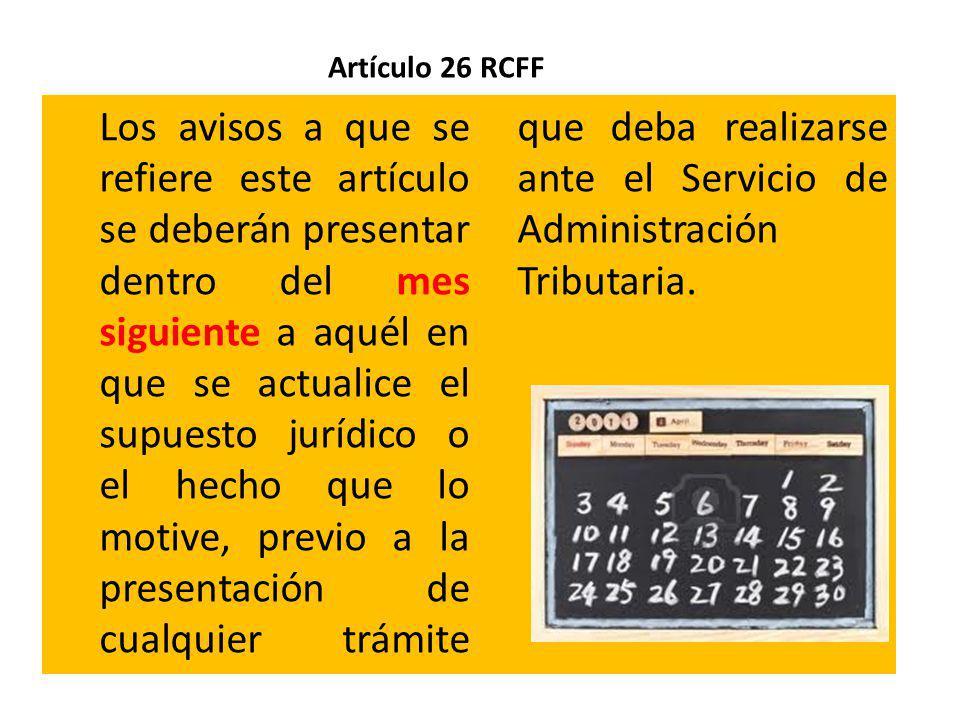 Artículo 26 RCFF