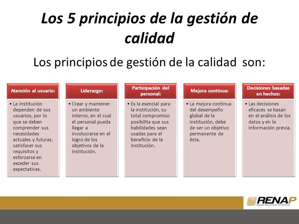 Los 5 principios de la gestión de calidad